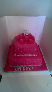 Bling diamontee parcel style cake - quote celebration 418