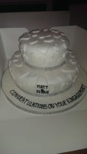 Engagement Cake With 3d Hearts With Shimmer Dust - quote celebration 385