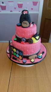 Two tier mac makeup cake - quote celebration 496