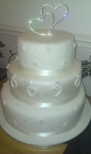 Sara 3 Tier Cake with diamontees and hearts