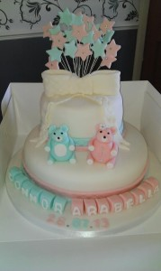2 Tier bear christening cake - quote christening 20